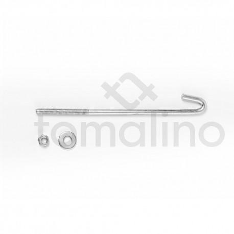 """Gancho Tensor Galvanizado 5/16"""" X 200 Mm C/tuerca Y Arandela"""